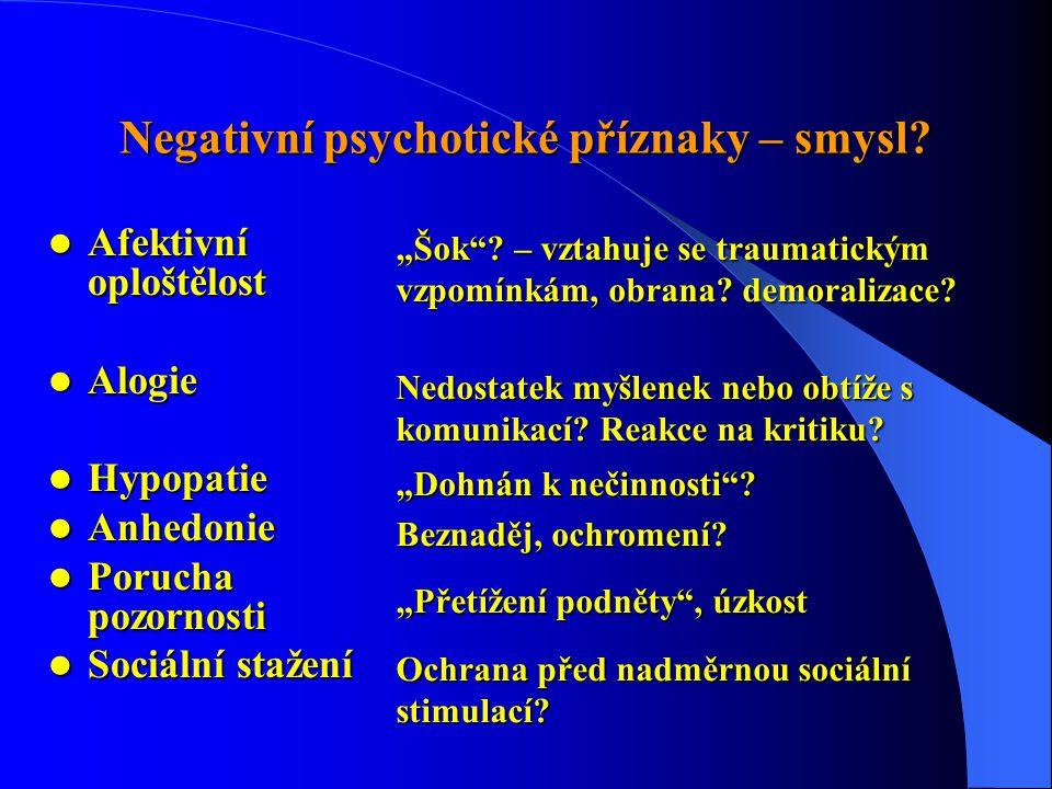 """Negativní psychotické příznaky – smysl?  Afektivní oploštělost  Alogie  Hypopatie  Anhedonie  Porucha pozornosti  Sociální stažení """"Šok""""? – vzta"""