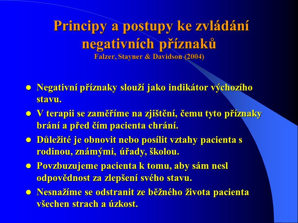 Principy a postupy ke zvládání negativních příznaků Falzer, Stayner & Davidson (2004) Principy a postupy ke zvládání negativních příznaků Falzer, Stayner & Davidson (2004)  Negativní příznaky slouží jako indikátor výchozího stavu.