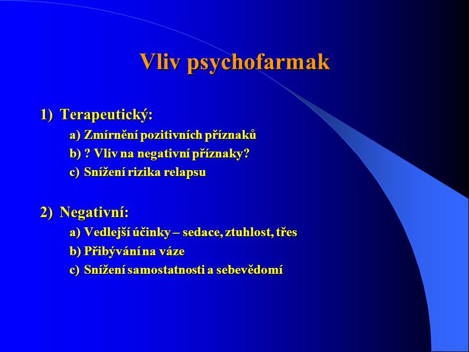 Vliv psychofarmak 1)Terapeutický: a)Zmírnění pozitivních příznaků b)? Vliv na negativní příznaky? c)Snížení rizika relapsu 2)Negativní: a)Vedlejší úči