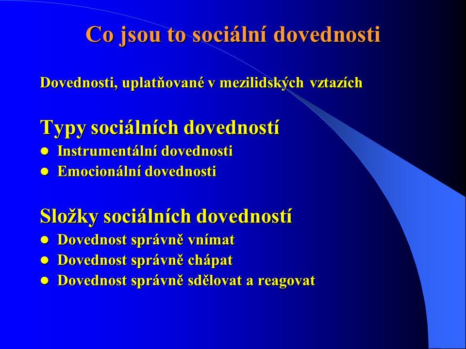 Dovednosti, uplatňované v mezilidských vztazích Typy sociálních dovedností  Instrumentální dovednosti  Emocionální dovednosti Složky sociálních dove