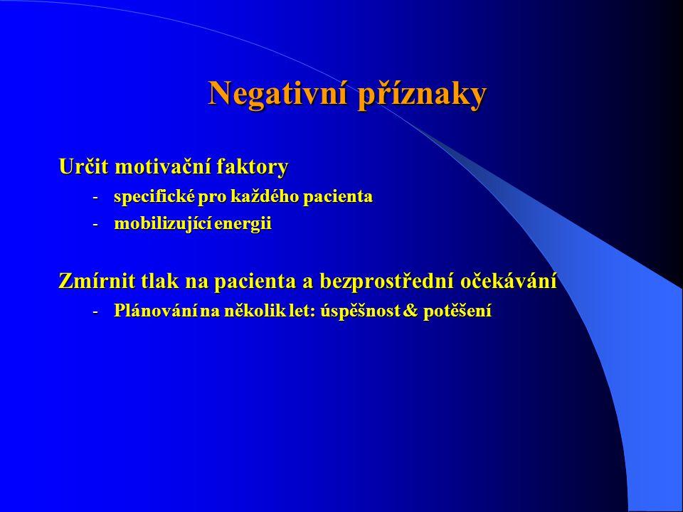 Negativní příznaky Negativní příznaky Určit motivační faktory - specifické pro každého pacienta - mobilizující energii Zmírnit tlak na pacienta a bezprostřední očekávání - Plánování na několik let: úspěšnost & potěšení