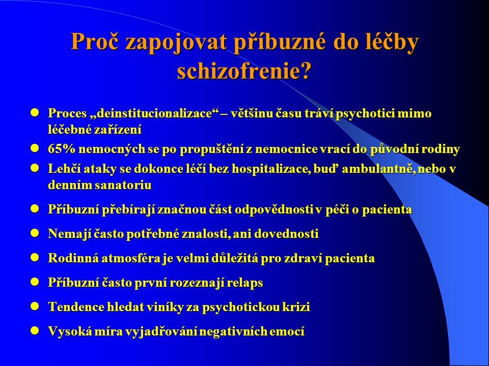"""Proč zapojovat příbuzné do léčby schizofrenie?  Proces """"deinstitucionalizace"""" – většinu času tráví psychotici mimo léčebné zařízení  65% nemocných s"""