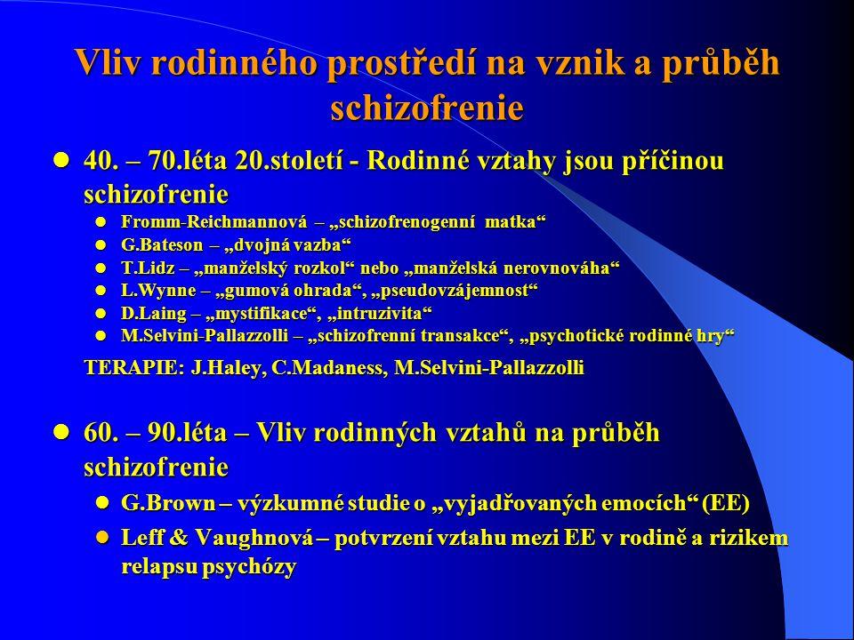 Vliv rodinného prostředí na vznik a průběh schizofrenie  40. – 70.léta 20.století - Rodinné vztahy jsou příčinou schizofrenie  Fromm-Reichmannová –
