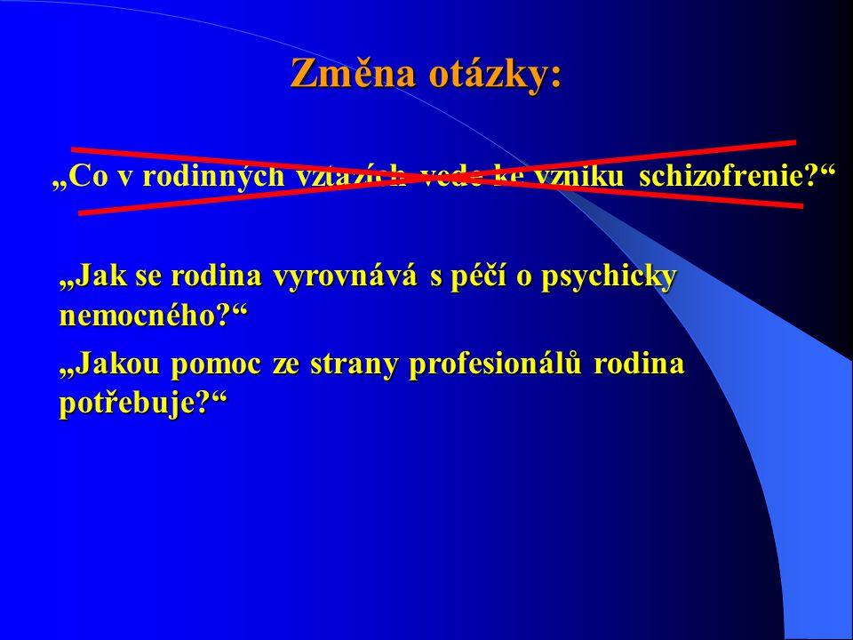 """Změna otázky: """"Co v rodinných vztazích vede ke vzniku schizofrenie?"""" """"Jak se rodina vyrovnává s péčí o psychicky nemocného?"""" """"Jakou pomoc ze strany pr"""