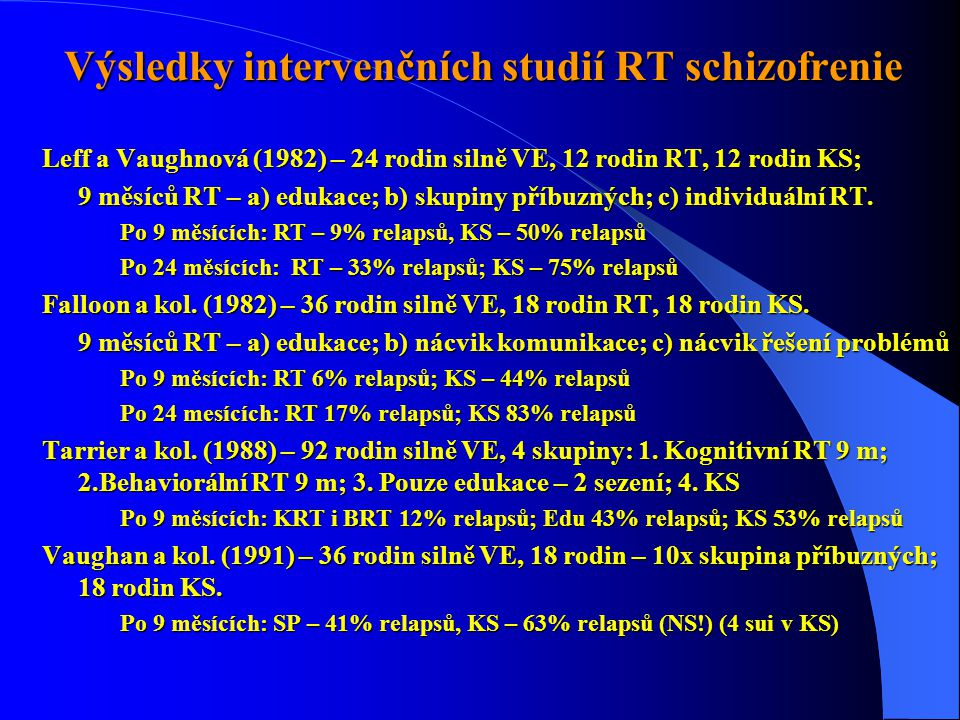 Výsledky intervenčních studií RT schizofrenie Leff a Vaughnová (1982) – 24 rodin silně VE, 12 rodin RT, 12 rodin KS; 9 měsíců RT – a) edukace; b) skupiny příbuzných; c) individuální RT.