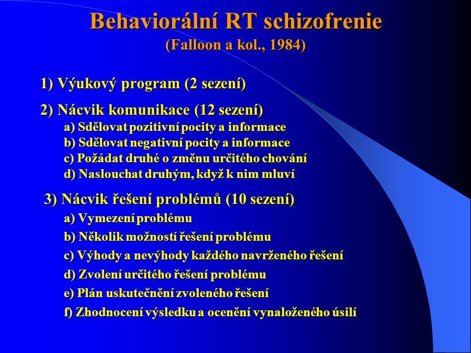 Behaviorální RT schizofrenie (Falloon a kol., 1984) 1) Výukový program (2 sezení) 2) Nácvik komunikace (12 sezení) a) Sdělovat pozitivní pocity a info
