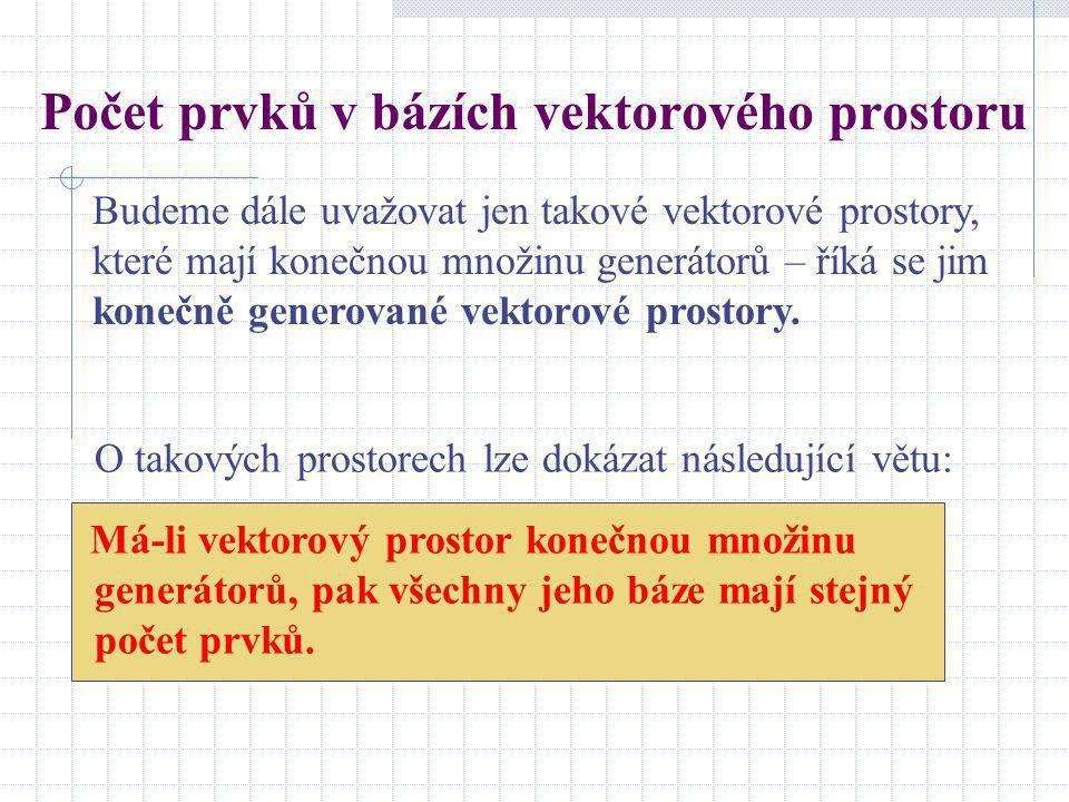 Určení homomorfismu Homomorfismus vektorového prostoru W 1 do vektorového prostoru W 2 nejsnadněji určíme tak, že určíme obrazy vektorů báze prostoru W 1.