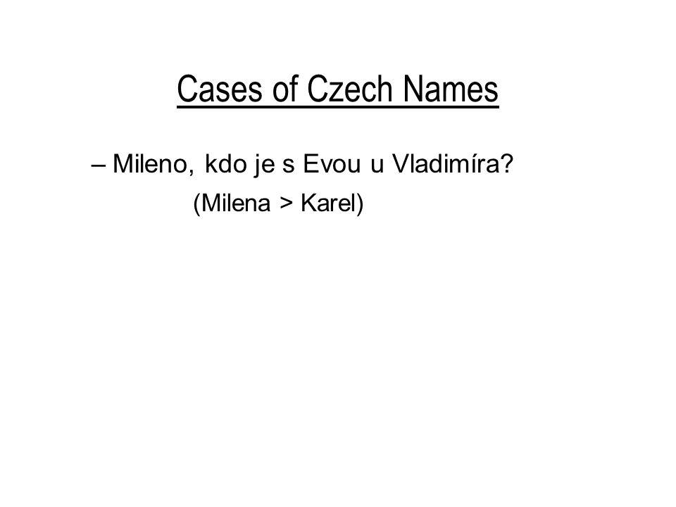 Cases of Czech Names –Mileno, kdo je s Evou u Vladimíra? (Milena > Karel)
