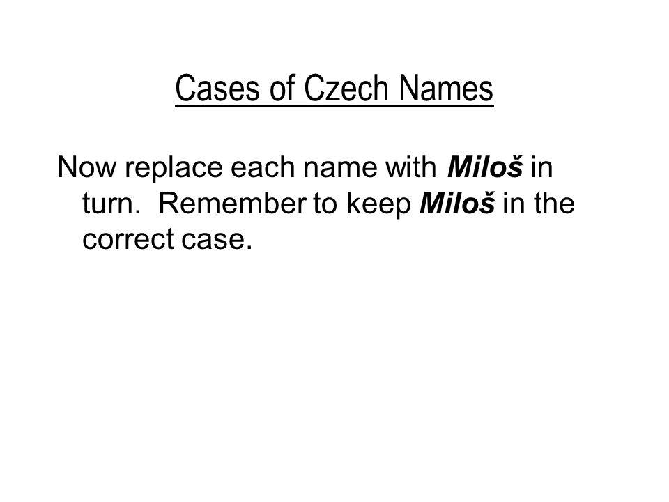 Cases of Czech Names –Mileno, kdo je s Evou u Vladimíra? (Milena > pan profesor)