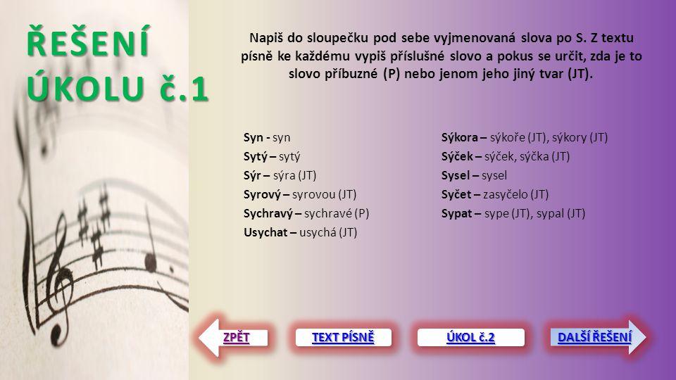 ŘEŠENÍ ÚKOLU č.1 Syn - syn Sytý – sytý Sýr – sýra (JT) Syrový – syrovou (JT) Sychravý – sychravé (P) Usychat – usychá (JT) Sýkora – sýkoře (JT), sýkor