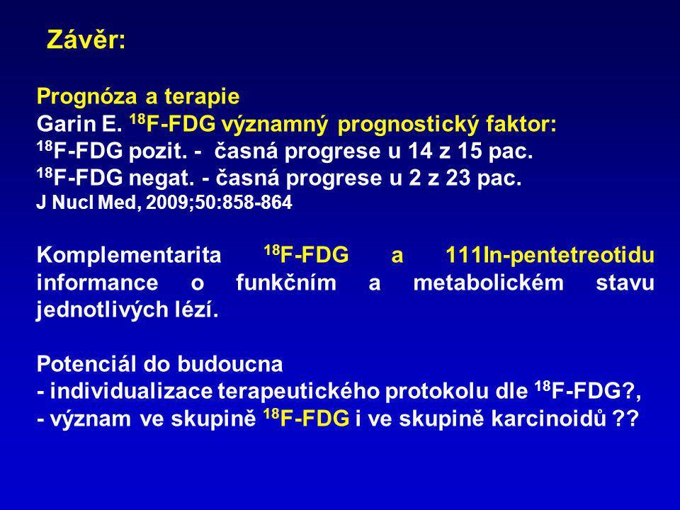 Prognóza a terapie Garin E. 18 F-FDG významný prognostický faktor: 18 F-FDG pozit. - časná progrese u 14 z 15 pac. 18 F-FDG negat. - časná progrese u