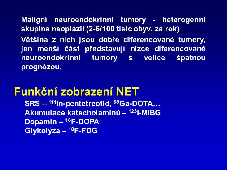 SPECT radiofarmaka – volba RF: typ tumoru – u většiny diferencovaných NET přednostně SRS ( 123 I-MIBG – neuroblastom, feochromocytom, paragangliom) plánovaná terapie – neznačené analogy somatostatinu, analogy somatostatinu značené β radionuklidy, 131I-MIBG PET radiofarmaka U low-grade NET - 68 Ga-DOTA… přesnější než 18 F-DOPA Středně a nízce diferencované NET – 18 F-FDG ?.