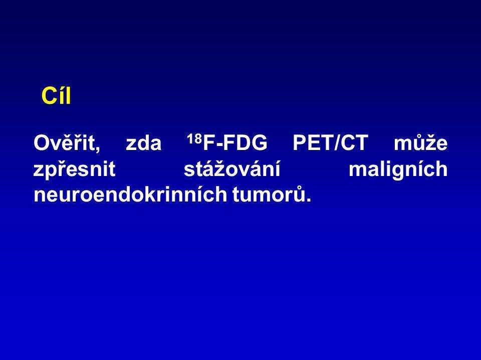 Ověřit, zda 18 F-FDG PET/CT může zpřesnit stážování maligních neuroendokrinních tumorů. Cíl