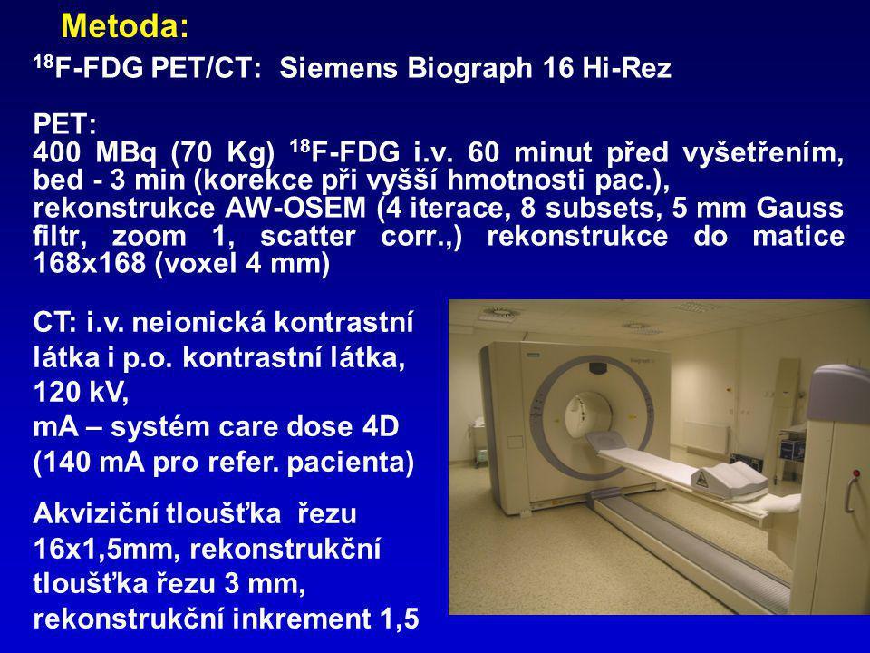 18 F-FDG PET/CT: Siemens Biograph 16 Hi-Rez PET: 400 MBq (70 Kg) 18 F-FDG i.v. 60 minut před vyšetřením, bed - 3 min (korekce při vyšší hmotnosti pac.