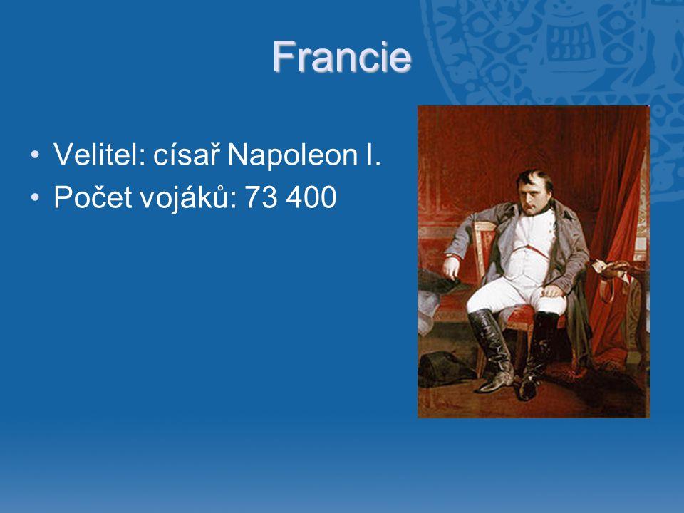 Francie •Velitel: císař Napoleon I. •Počet vojáků: 73 400
