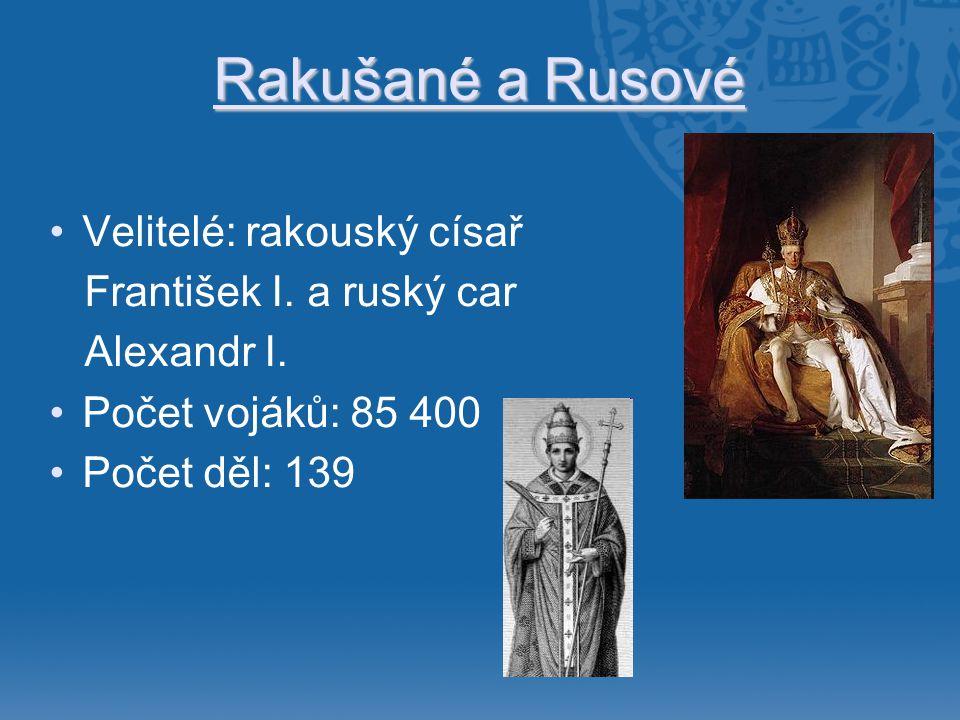 Rakušané a Rusové •Velitelé: rakouský císař František I. a ruský car Alexandr I. •Počet vojáků: 85 400 •Počet děl: 139