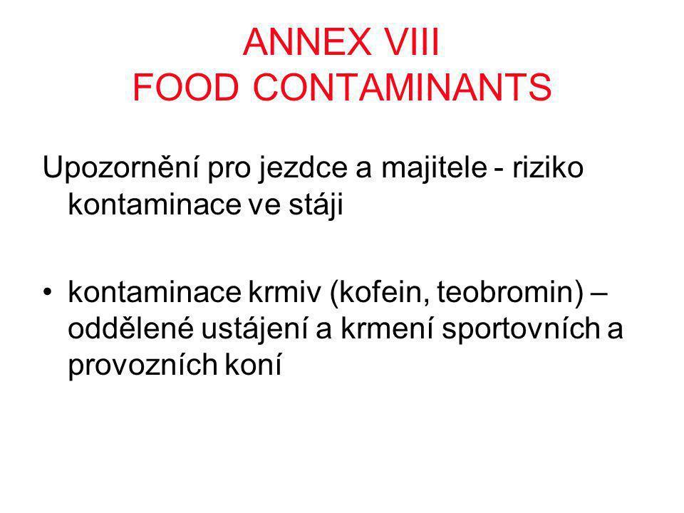 ANNEX VIII FOOD CONTAMINANTS Upozornění pro jezdce a majitele - riziko kontaminace ve stáji •kontaminace krmiv (kofein, teobromin) – oddělené ustájení