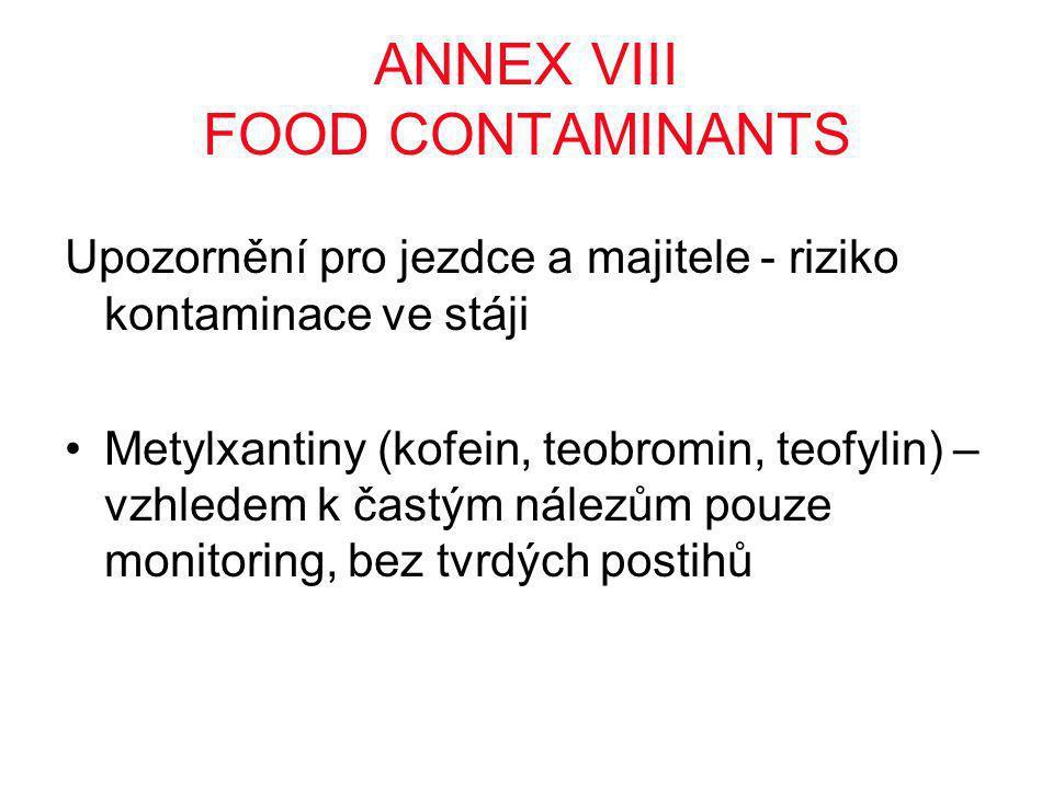 ANNEX VIII FOOD CONTAMINANTS Upozornění pro jezdce a majitele - riziko kontaminace ve stáji •Metylxantiny (kofein, teobromin, teofylin) – vzhledem k častým nálezům pouze monitoring, bez tvrdých postihů