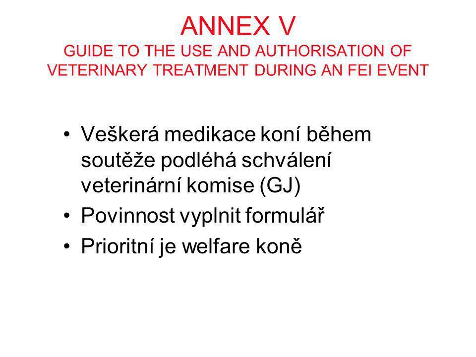 ANNEX V GUIDE TO THE USE AND AUTHORISATION OF VETERINARY TREATMENT DURING AN FEI EVENT •Veškerá medikace koní během soutěže podléhá schválení veteriná