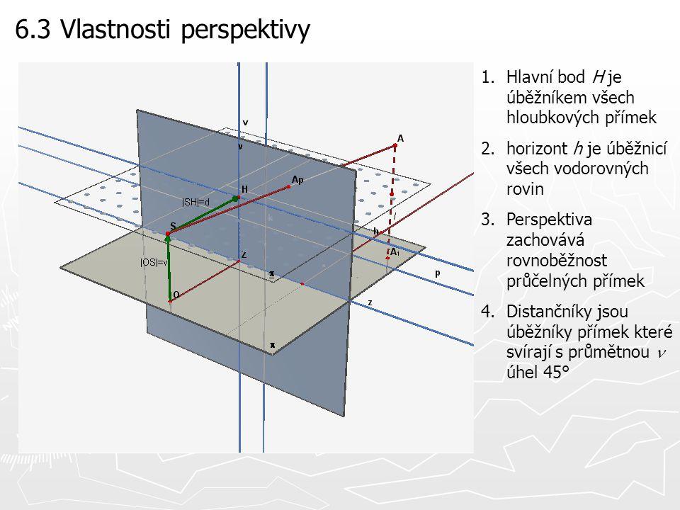 6.3 Vlastnosti perspektivy 1.Hlavní bod H je úběžníkem všech hloubkových přímek 2.horizont h je úběžnicí všech vodorovných rovin 3.Perspektiva zachová