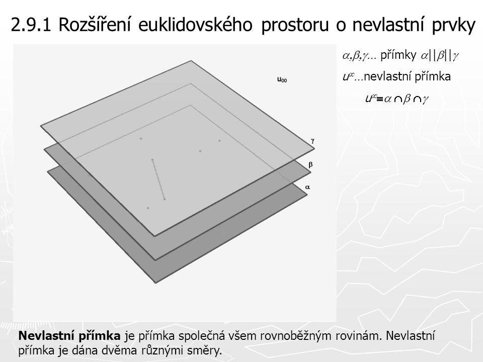 2.9.1 Rozšíření euklidovského prostoru o nevlastní prvky Nevlastní přímka je přímka společná všem rovnoběžným rovinám. Nevlastní přímka je dána dvěma