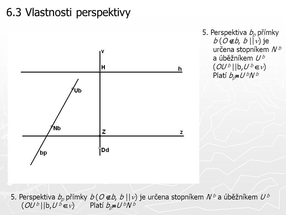 6.3 Vlastnosti perspektivy 5. Perspektiva b p přímky b (O  b, b ||  ) je určena stopníkem N b a úběžníkem U b (OU b ||b,U b  ) Platí b p  U b N b