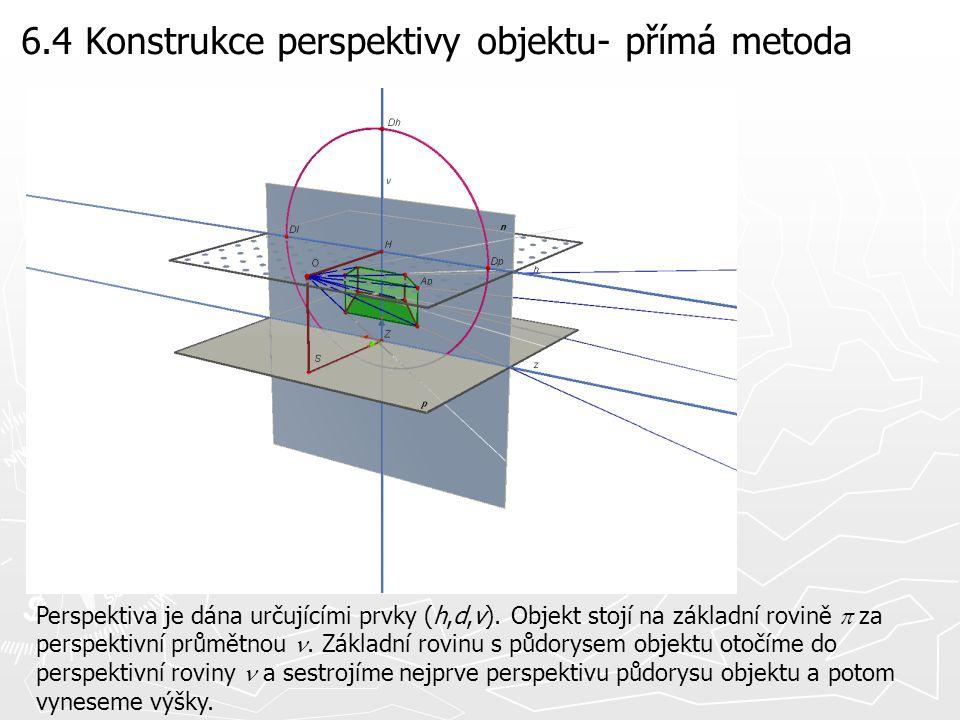 6.4 Konstrukce perspektivy objektu- přímá metoda Perspektiva je dána určujícími prvky (h,d,v). Objekt stojí na základní rovině  za perspektivní průmě