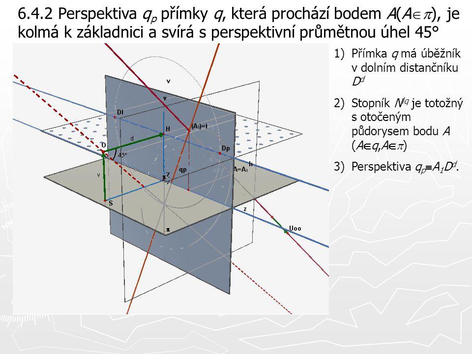 6.4.2 Perspektiva q p přímky q, která prochází bodem A(A  ), je kolmá k základnici a svírá s perspektivní průmětnou úhel 45° 1)Přímka q má úběžník v