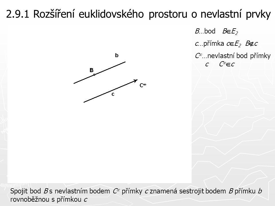2.9.1 Rozšíření euklidovského prostoru o nevlastní prvky Nalézt rovinu  určenou bodem A a nevlastní přímkou u  roviny  znamená sestrojit bodem A rovinu rovnoběžnou s rovinou  A…bod A  E3  …rovina  E3 A  u  …nevlastní přímka roviny  u    …rovina  =(A,u  ) A  || 