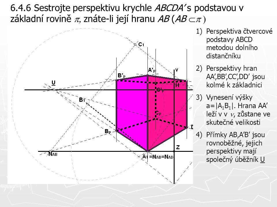 6.4.6 Sestrojte perspektivu krychle ABCDA' s podstavou v základní rovině  znáte-li její hranu AB (AB  1)Perspektiva čtvercové podstavy ABCD met