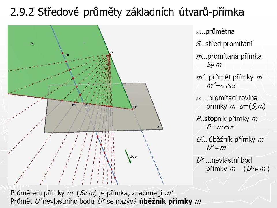 2.9.2 Středové průměty základních útvarů-přímka Průmětem přímky m (S  m) je přímka, značíme ji m' Průmět U' nevlastního bodu U  se nazývá úběžník př