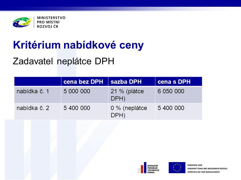Zadavatel neplátce DPH Kritérium nabídkové ceny cena bez DPHsazba DPHcena s DPH nabídka č. 15 000 00021 % (plátce DPH) 6 050 000 nabídka č. 25 400 000