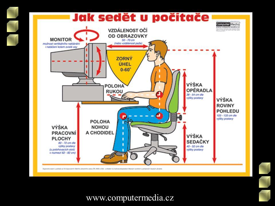 Stůl •pořádek •dost místa pro myš i klávesnici •stůl tak vysoký, aby předloktí leželo vodorovně