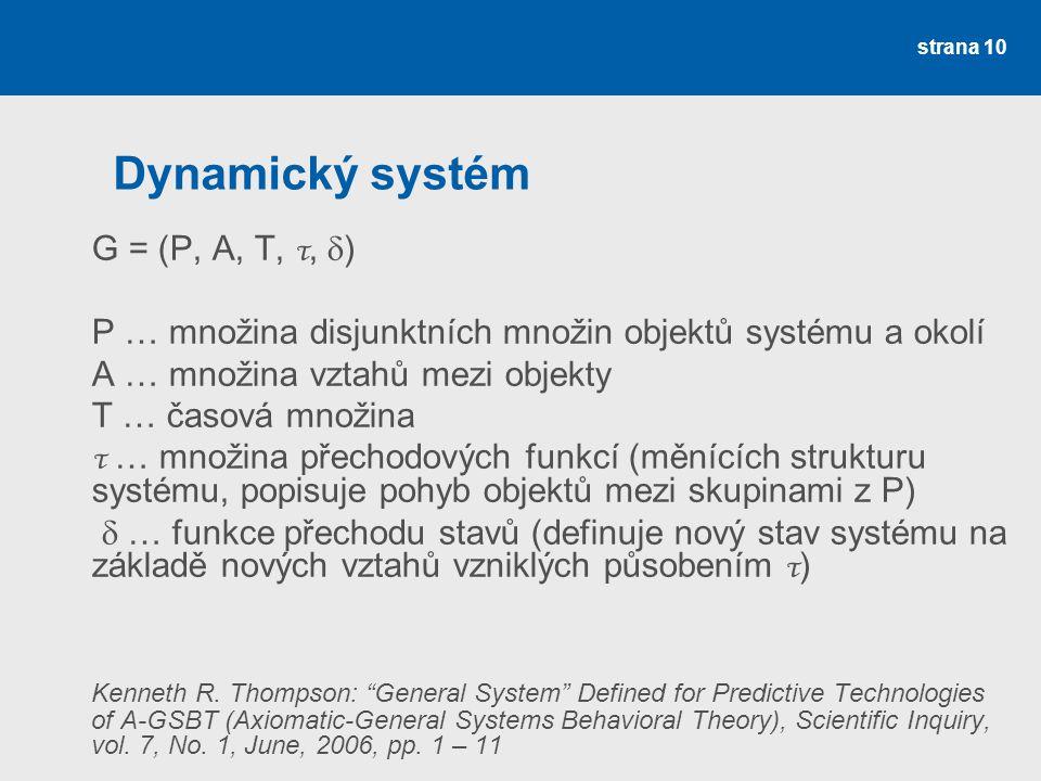 strana 10 Dynamický systém G = (P, A, T, τ,  ) P … množina disjunktních množin objektů systému a okolí A … množina vztahů mezi objekty T … časová množina τ … množina přechodových funkcí (měnících strukturu systému, popisuje pohyb objektů mezi skupinami z P)  … funkce přechodu stavů (definuje nový stav systému na základě nových vztahů vzniklých působením τ ) Kenneth R.