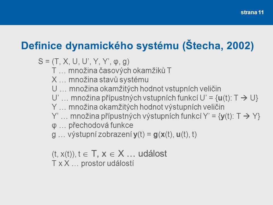 strana 11 Definice dynamického systému (Štecha, 2002) S = (T, X, U, U', Y, Y', φ, g) T … množina časových okamžiků T X … množina stavů systému U … množina okamžitých hodnot vstupních veličin U' … množina přípustných vstupních funkcí U' = {u(t): T  U} Y … množina okamžitých hodnot výstupních veličin Y' … množina přípustných výstupních funkcí Y' = {y(t): T  Y} φ … přechodová funkce g … výstupní zobrazení y(t) = g(x(t), u(t), t) (t, x(t)), t  T, x  X … událost T x X … prostor událostí