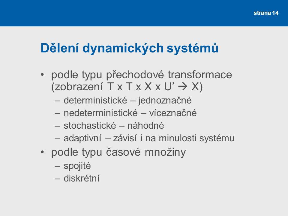strana 14 Dělení dynamických systémů •podle typu přechodové transformace (zobrazení T x T x X x U'  X) –deterministické – jednoznačné –nedeterministické – víceznačné –stochastické – náhodné –adaptivní – závisí i na minulosti systému •podle typu časové množiny –spojité –diskrétní
