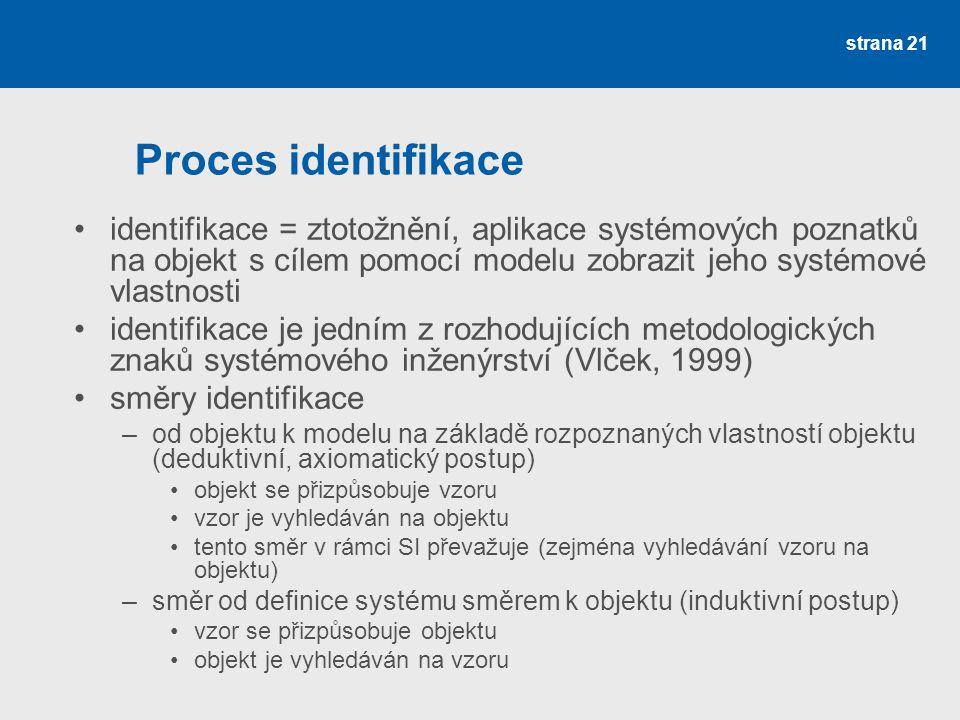 strana 21 Proces identifikace •identifikace = ztotožnění, aplikace systémových poznatků na objekt s cílem pomocí modelu zobrazit jeho systémové vlastnosti •identifikace je jedním z rozhodujících metodologických znaků systémového inženýrství (Vlček, 1999) •směry identifikace –od objektu k modelu na základě rozpoznaných vlastností objektu (deduktivní, axiomatický postup) •objekt se přizpůsobuje vzoru •vzor je vyhledáván na objektu •tento směr v rámci SI převažuje (zejména vyhledávání vzoru na objektu) –směr od definice systému směrem k objektu (induktivní postup) •vzor se přizpůsobuje objektu •objekt je vyhledáván na vzoru