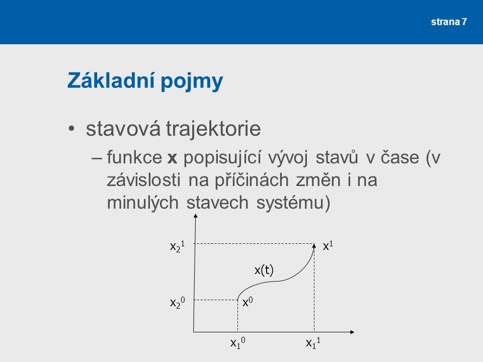 strana 7 Základní pojmy •stavová trajektorie –funkce x popisující vývoj stavů v čase (v závislosti na příčinách změn i na minulých stavech systému) x 1 0 x 1 1 x20x20 x21x21 x0x0 x1x1 x(t)