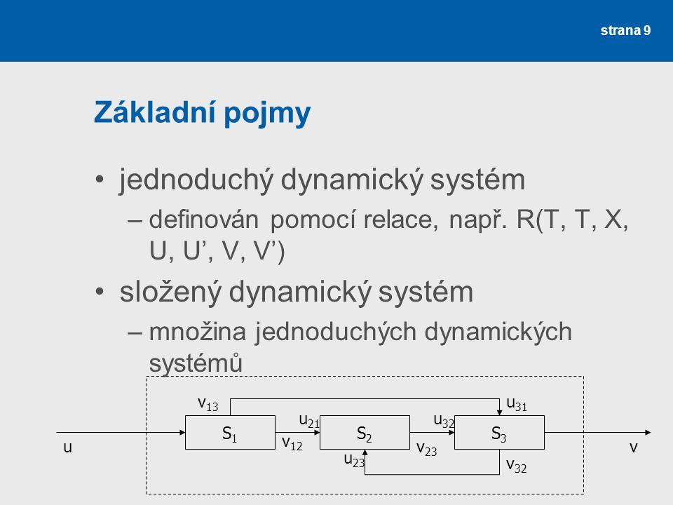 strana 9 Základní pojmy •jednoduchý dynamický systém –definován pomocí relace, např. R(T, T, X, U, U', V, V') •složený dynamický systém –množina jedno