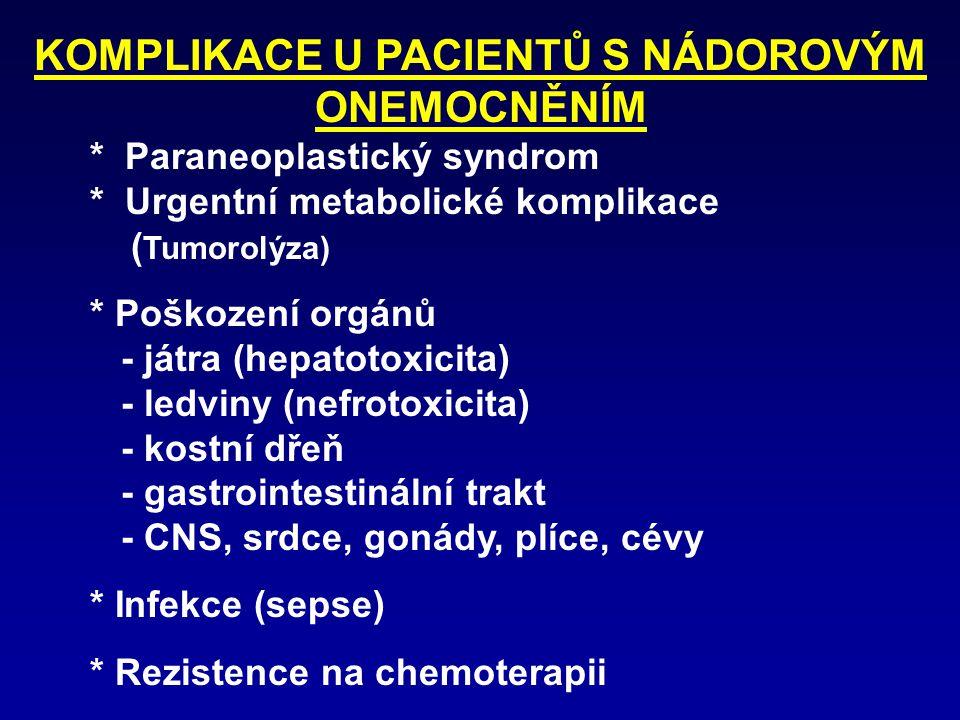 KOMPLIKACE U PACIENTŮ S NÁDOROVÝM ONEMOCNĚNÍM * Paraneoplastický syndrom * Urgentní metabolické komplikace ( Tumorolýza) * Poškození orgánů - játra (h