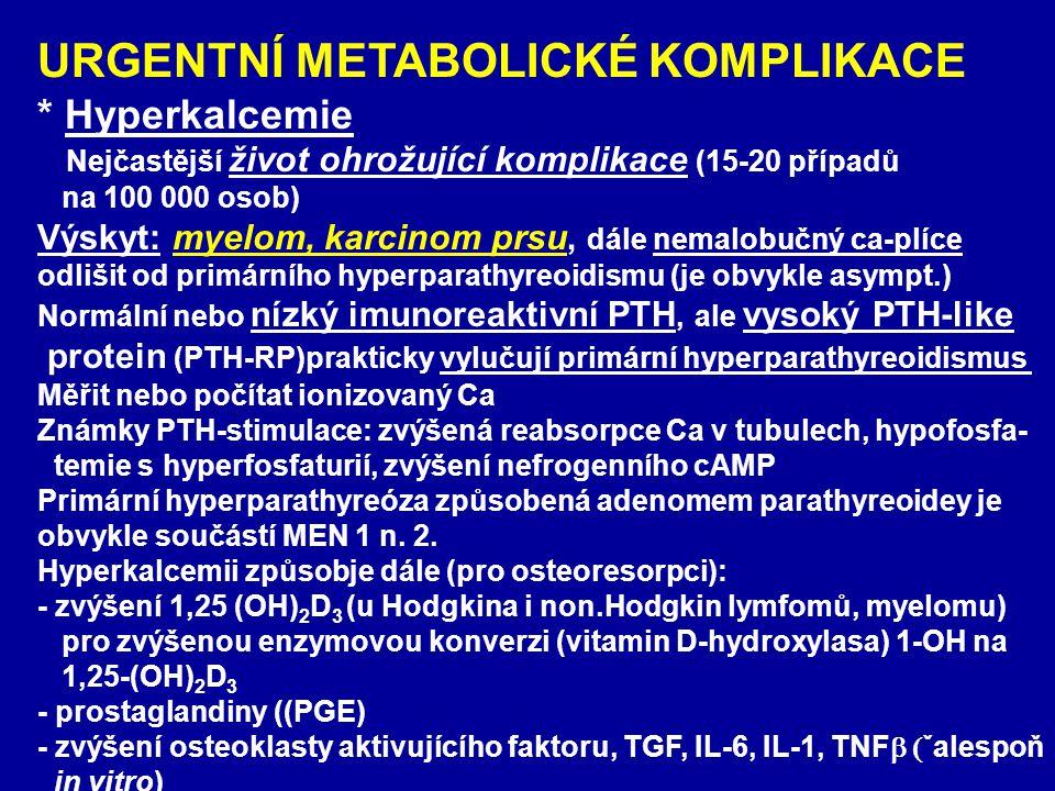 URGENTNÍ METABOLICKÉ KOMPLIKACE * Hyperkalcemie Nejčastější život ohrožující komplikace (15-20 případů na 100 000 osob) Výskyt: myelom, karcinom prsu,