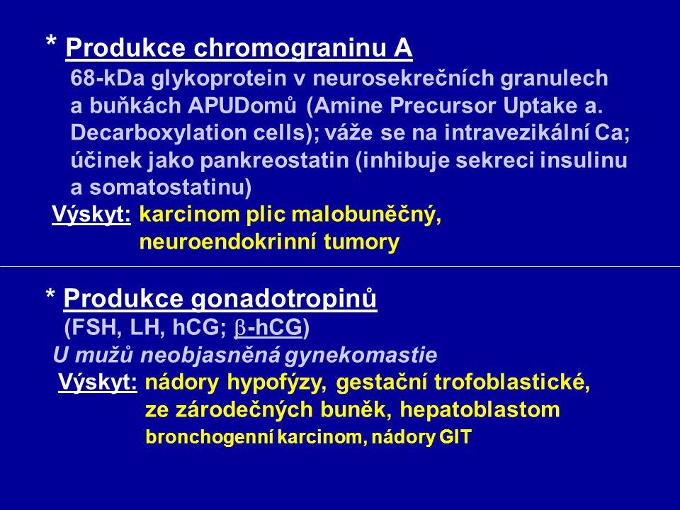 * Produkce chromograninu A 68-kDa glykoprotein v neurosekrečních granulech a buňkách APUDomů (Amine Precursor Uptake a. Decarboxylation cells); váže s