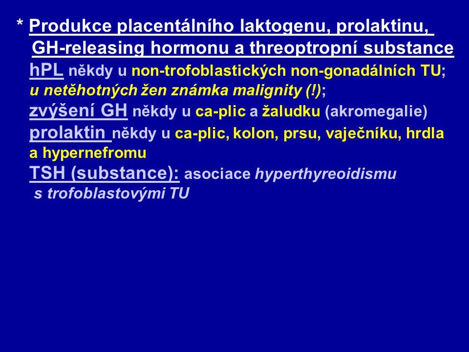 * Produkce placentálního laktogenu, prolaktinu, GH-releasing hormonu a threoptropní substance hPL někdy u non-trofoblastických non-gonadálních TU; u n
