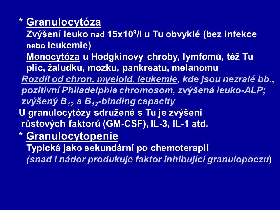 * Granulocytóza Zvýšení leuko nad 15x10 9 /l u Tu obvyklé (bez infekce nebo leukemie) Monocytóza u Hodgkinovy chroby, lymfomů, též Tu plic, žaludku, m