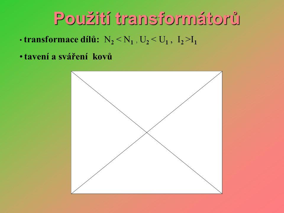 • transformace dílů: N 2 I 1 • tavení a sváření kovů Použití transformátorů