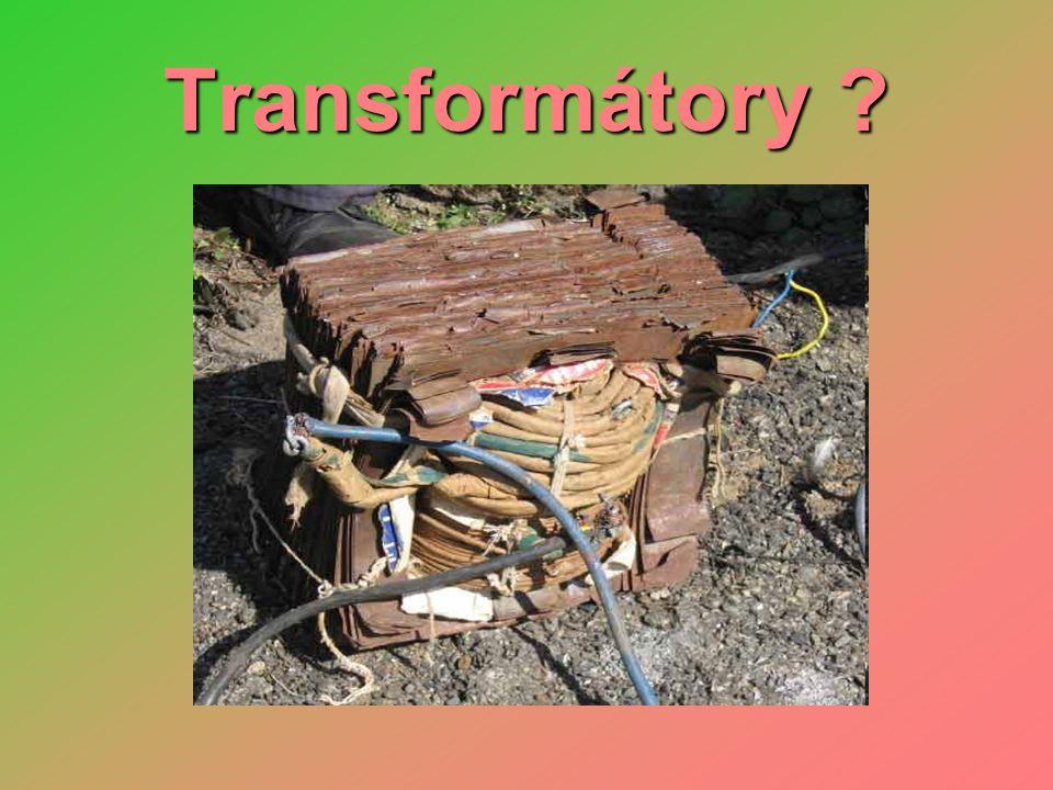 Transformátory • funkce - slouží k transformování (změně) velikosti střídavého el.napětí a proudu • popis - primární cívka, sekundární cívka a společné magnetické jádro • princip - elektromagnetická indukce - přivedené střídavé napětí na primární cívku indukuje střídavé napětí na sekundární cívce primární cívka N 1 závitů sekundární cívka N 2 závitů