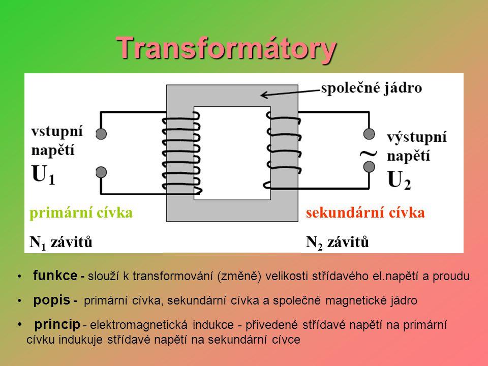 Transformátory • transformační poměr p: p = N 2 : N 1 = U 2 : U 1 = I 1 : I 2 • transformace nahoru: U 2 >U 1 transformace dolů : U 2 <U 1 •výstupní napětí sekundární cívky a vstupní napětí primární cívky jsou ve stejném poměru jako počet závitů N 2 sekundární cívky a N 1 primární cívky