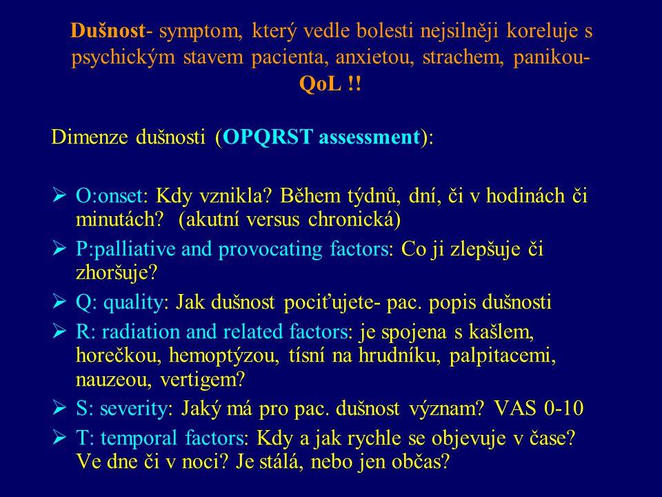 Dušnost Pneumonie, respirační infekty CHOPN, astma, restrikční plicní onemocnění Levostranná srdeční slabost Renální či hepatální selhání- metabolický rozvrat Pleuralní nebo perikardiální výpotek Chronická bolest Plicní embolie Deprese & Úzkost Imobilizační syndrom- sy.