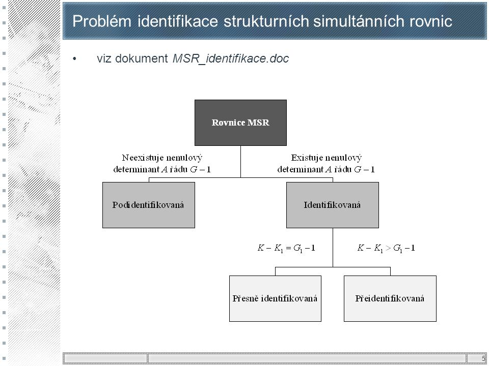 5 Problém identifikace strukturních simultánních rovnic •viz dokument MSR_identifikace.doc