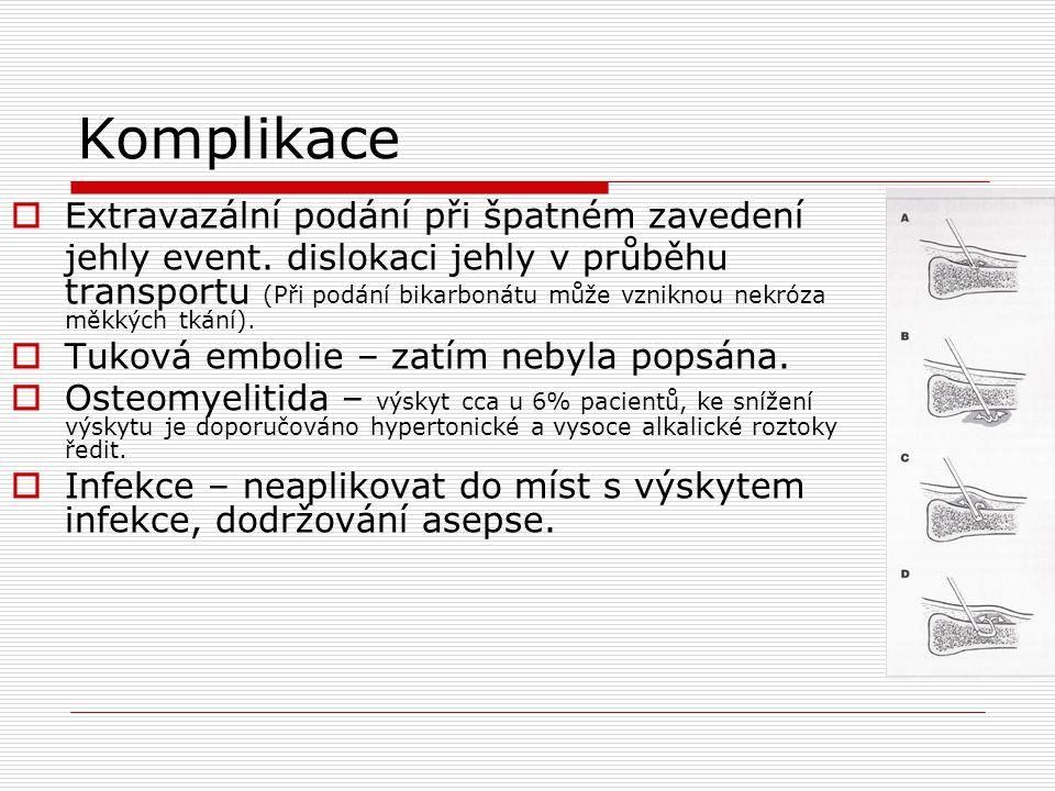 Komplikace  Extravazální podání při špatném zavedení jehly event. dislokaci jehly v průběhu transportu (Při podání bikarbonátu může vzniknou nekróza